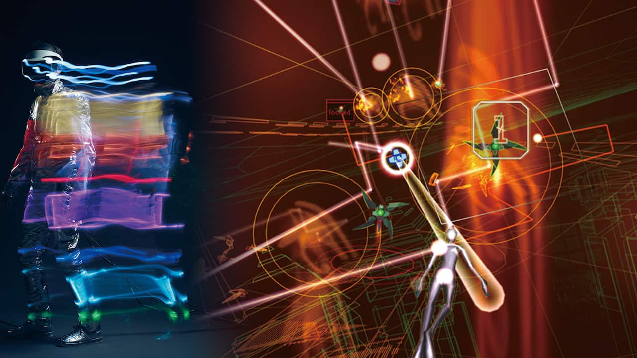 水口 哲也 + Rhizomatiks Architecture + Keio Media Design「Rez Infinite - Synesthesia Suit」。視覚・聴覚・触覚が刺激される究極の共感覚体験。